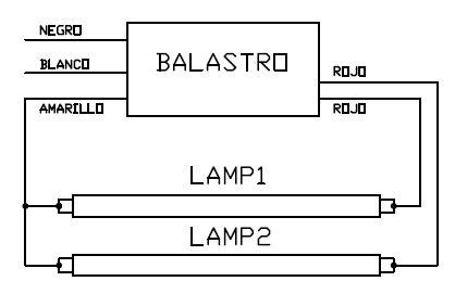 conexion de balastro de lara fluorescente