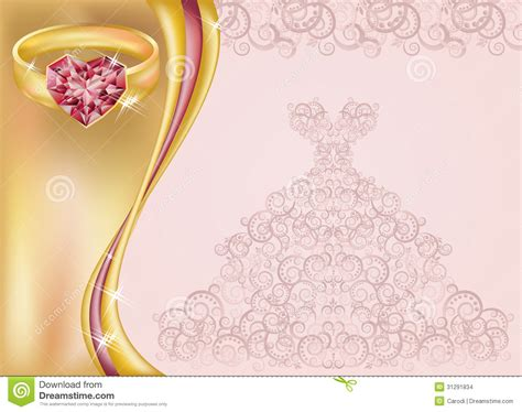 wedding invitation card  bride dress  golde stock