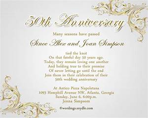 50th wedding anniversary party invitation wording for Words for a 50th wedding anniversary card