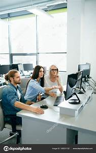 IT office. People Working At Open Workplace — Stock Photo ...