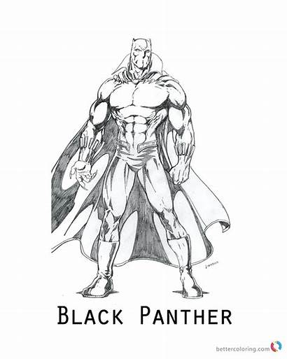 Panther Coloring Marvel Pages Drawing Sketch Printable