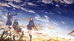 Original, Characters, Bicycle, School, Uniform, Clouds, Sky, Anime, Girls, Anime, Sunset
