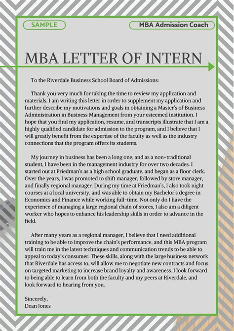 pin  mba admissions samples  mba letter  intent