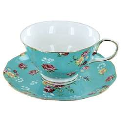 christmas food gift baskets shabby turquoise porcelain teacup and saucer set