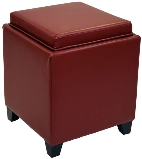 leather ottoman with storage and tray rainbow red bonded leather storage ottoman with tray