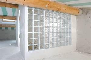 Bricolage Avec Robert : cloison verre salle de bain cuisine brique en verre ~ Nature-et-papiers.com Idées de Décoration