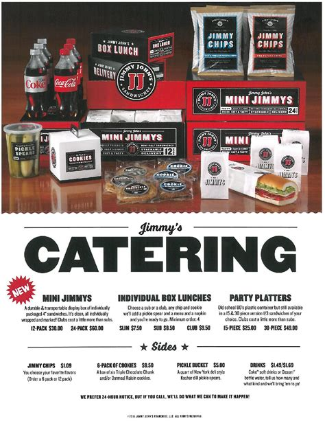 jimmy johns catering menu prices  images catering