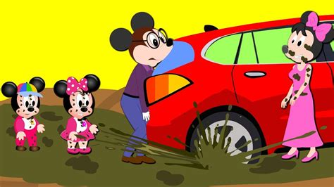 Mickey Mouse Car Stuck In Mud Fun Story (finger Family