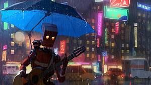 2932x2932, Robot, Cat, Guitar, Umbrella, Rain, 4k, Ipad, Pro