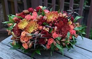 Thanksgiving, Table, Centerpiece, With, Mums, Spray, Roses, Hypericum, Alstroemerias, A, U2026