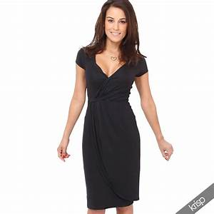 womens v neck wrap front top jersey midi dress cap sleeve With robe cache coeur fluide