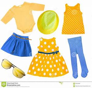 Child Girl Bright Summer Clothes Isolated. Stock Photo ...