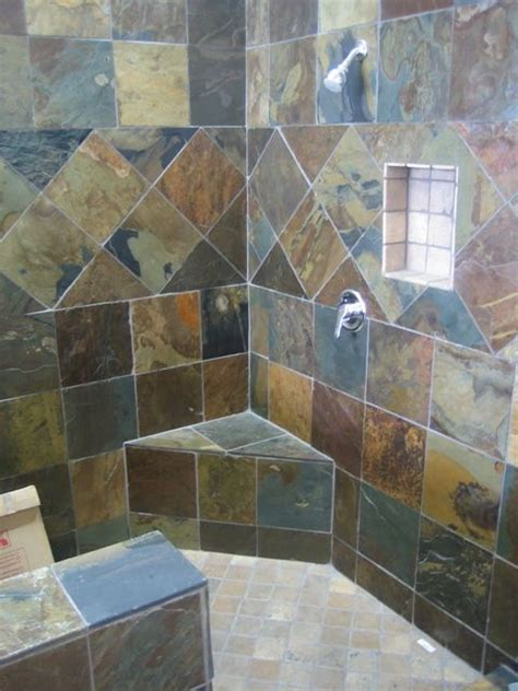 Slate Tile Bathroom Designs by Slate Bathroom Multicolor Slate Shower 346