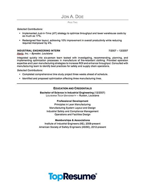 industrial engineering resume sle professional resume exles topresume