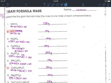 gram formula mass worksheet answers liakeenerchemistry gram formula mass worksheet