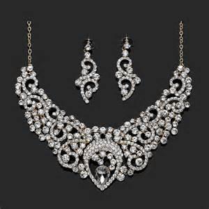 bridesmaid jewelry bridal wedding jewelry sets rhinestone filigree jewelry gold plated