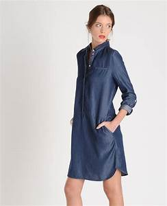 Robe chemise esprit denim manches longues deux poches for Robe longue esprit