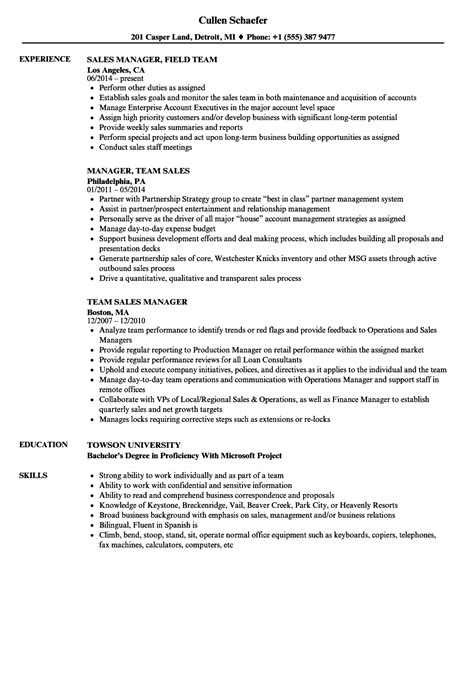 Sle Sales Manager Resume by Team Sales Manager Resume Sles Velvet