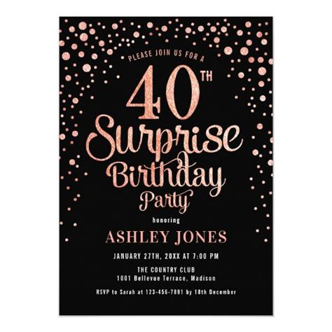 Surprise 40th Birthday Party Black & Rose Gold