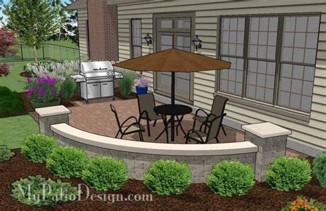 small concrete paver patio design with seat wall 315 sq
