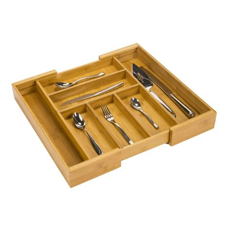kitchen cutlery drawer organizers expandable bamboo cutlery tray the container 4371