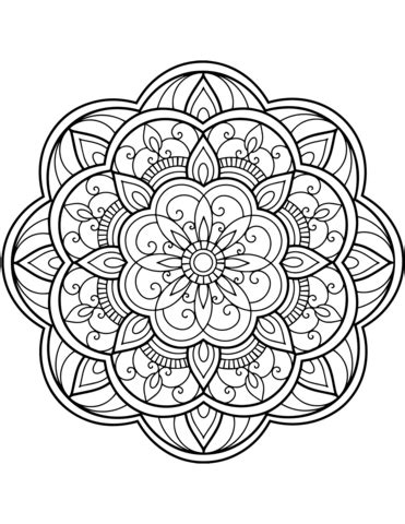 dibujo de mandala de flores  colorear dibujos