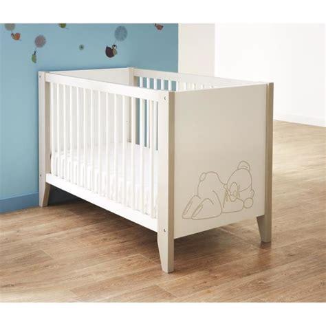 cadre ourson chambre bébé ourson lit bébé 60x120 cm blanc et taupe achat vente