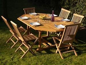 Table Teck Jardin : salon de jardin grenade en teck 6 8 personnes table 130 190 x 130 x 75 cm 6 chaises 56076 ~ Teatrodelosmanantiales.com Idées de Décoration