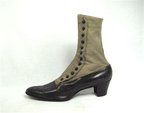edwardian leather suede high button boots  sale