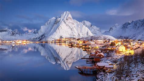 Download wallpaper The Lofoten Islands, mountains, snow