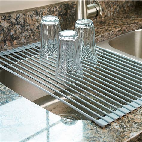 kitchen drying rack the sink roll up drying rack colander the green
