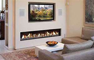 Contemporary electric fireplace designs with TV above and