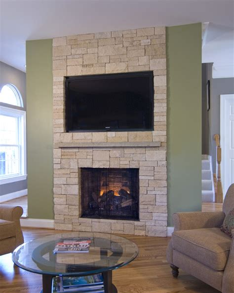 stone veneer fireplace tv niche contemporary family
