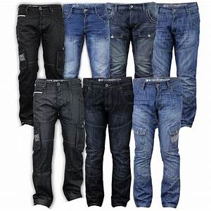 Mens Denim Jeans Crosshatch Cargo Combat Pants Bottoms Straight Leg Designer New | eBay