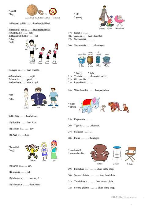 free esl degrees of comparison worksheets easter