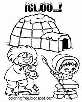 Coloring Printable Frozen Igloo Ice Fishing Eskimo Shelter Winter Snow Round Teenagers Drawing Arctic Cool Craft Icecap Northlands Take There sketch template