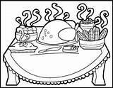 Thanksgiving Coloring Dinner Table Drawing Eating Meal Preschool Getdrawings Getcolorings Printable Template sketch template
