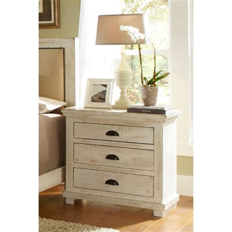 White Distressed Nightstand by Willow Distressed White Nightstand Progressive Furniture