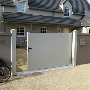 Leroy Merlin Portail : portail coulissant aluminium lao blanc naterial x h ~ Nature-et-papiers.com Idées de Décoration