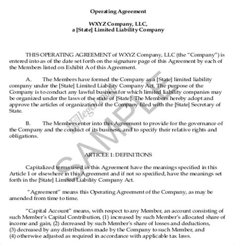 operating agreement template   word  document