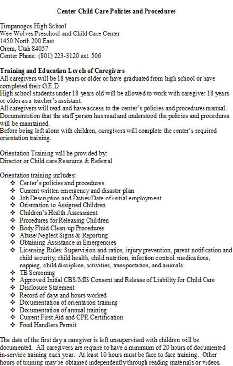 timpanogos weewolves childcare amp preschool policies and 434 | policy4