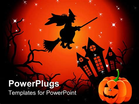 powerpoint template halloween witch flying  haunted