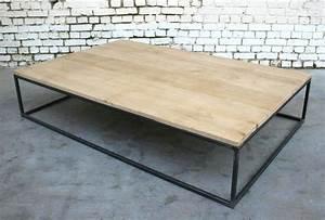 Table Basse Bois Metal : table basse bs 39 tb002 giani desmet meubles indus bois m tal et cuir ~ Teatrodelosmanantiales.com Idées de Décoration
