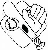 Baseball Coloring Bat Glove Printable Mitt Getcolorings Pages sketch template