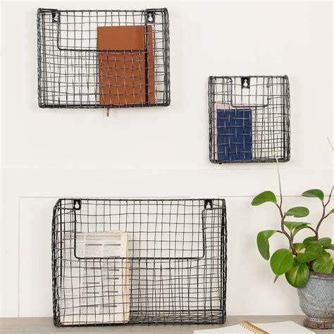 set   wall mounted black wire storage baskets  dibor notonthehighstreetcom