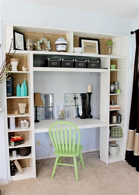office desk with bookcase and shelving a nook over time domestically speaking