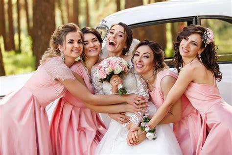 wedding photography  happy bride  bridesmaids  pink
