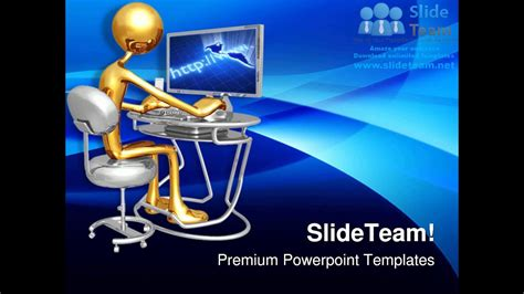 work station monitor computer powerpoint templates themes