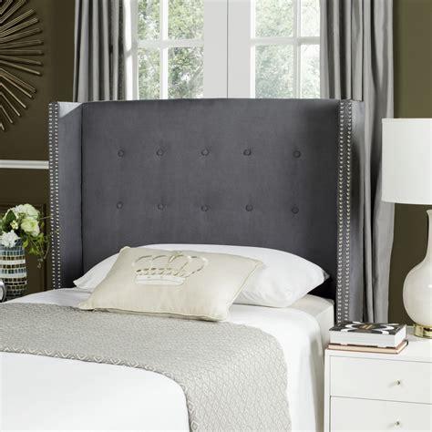 velvet tufted headboard keegan grey velvet tufted winged headboard silver nail