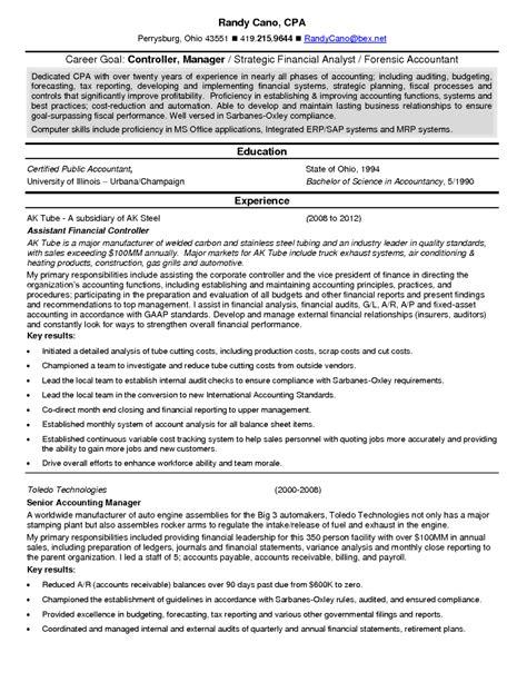 resume format for finance manager best resume sle a